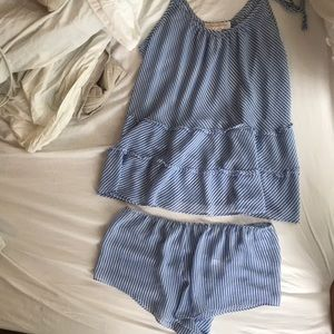 Oscar de La Renta Striped Pajama Set